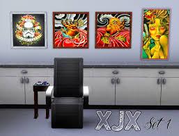 mod the sims tattoo shop decoration flash art