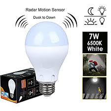 led light bulb with dusk to dawn sensor motion sensor light bulb 7w 60w equivalent radar smart bulb dusk