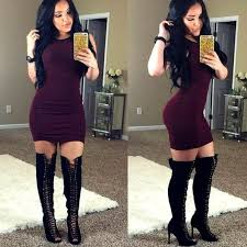dresses with boots fashion wine silky ribbed bodycon dress from