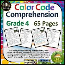 reading comprehension 4th grade reading comprehension color coding text evidence 4th grade