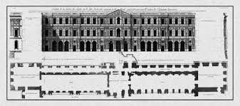 print of vintage elevation plan as well as floor plans of louvre