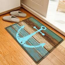 deck anchor pattern water absorbing bathroom floor mat cyan w