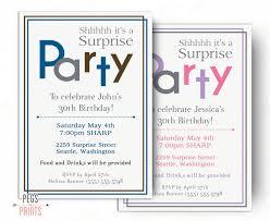surprise birthday invitations for men or women printable