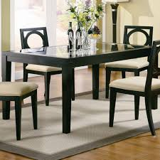Teak Wood Dining Table Single Black Teak Wood Pedestal With Round Glass Top Dining Table