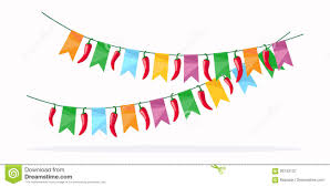 Mexican Party Flags Party Flags With Confetti And Streamer Stock Vector Image 69380699