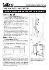 15 Cabinet Positions Nutone Avd50n User Manual 8 Pages