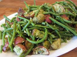 oven roasted potato and green bean salad with skinny basil pesto