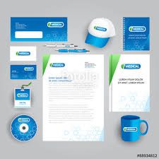 blue corporate identity template with medical logo medical
