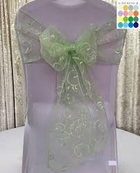 mint chair sashes 10 colors 10pcs lot organza embroidery chair sash wedding event
