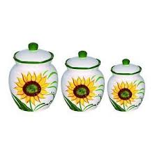 sunflower canisters for kitchen lorren home trends sunflower design 3 deluxe
