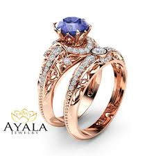 diamonds rings pictures images Tanzanite engagement ring set 14k rose gold diamonds rings jpg