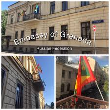 Flag Of Grenada Flags Of Grenada And Caricom Fly In The Center Of Moscow Embassy