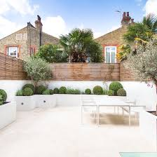 white rendered raised beds and limestone paving with slatted