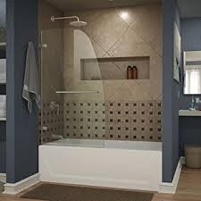 glass door on bathtub dreamline aqua uno 34 in width frameless hinged tub door 1 4