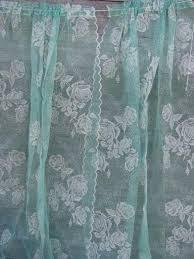 Vintage Green Curtains Vintage Sheer Summer Curtains Jadite Green Net W White Flocked Roses