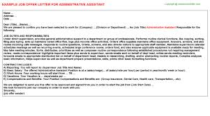 administrative assistant offer letters