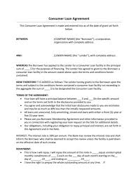 consumer loan agreement forms consumer loan agreement loan