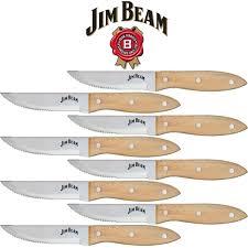 jim beam serrated stainless steel steak knife set 8 knives ebay