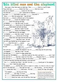 The Blind Men And The Elephant Six Blind Men And The Elephant Worksheet Free Esl Printable