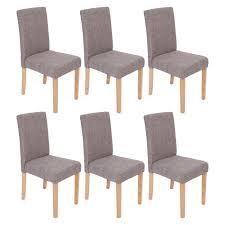chaises s jour lot de 6 chaises de séjour littau tissu gris pieds clairs achat