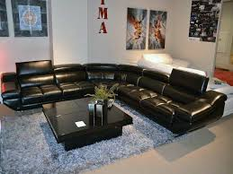 furnitures black sectional sofa elegant black leather