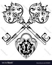 tattoo design of lock ands key royalty free vector image