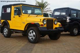 one off customised mahindra thar in yellow color offered in goa