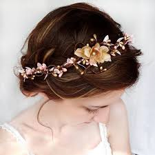 prom hair accessories pink and gold wedding circlet bridal hair flower hair