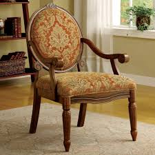 Upholstered Accent Chair Furniture Brown Wooden Chair Using Round Orange Upholstered