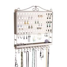 earring holder necklace images Jewelry organizer wall mount earring holder hanging necklace rack jpg