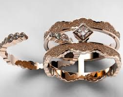 Rose Gold Wedding Ring Sets by Rose Gold Bridal Set Etsy