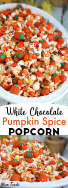 pumpkin spice popcorn recipe with white chocolate festive fall snack