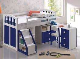 kids room white and blue solid wood loft bed with storage and