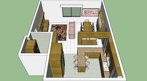 german style kitchen with dining and living room plus lcd set 3d