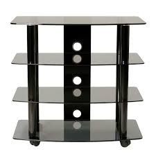 tv stands audio cabinets transdeco black glass and metal tv stand audio rack for up to 32in