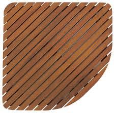 dania corner shower mat solid teak wood transitional bathroom