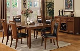 Black Dining Table With Leaf Amazon Com Solid Wood Dining Table With Leaf And 6 High Back