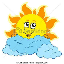 sun with clouds isolated illustration stock