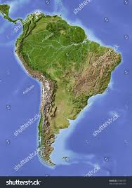 Relief Map South America Shaded Relief Map Colored Stock Illustration