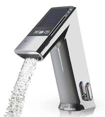electronic kitchen faucets electronic lavatory faucet by iqua with sensor display showing