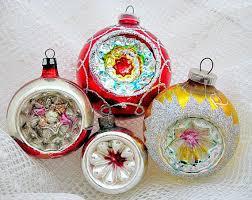 4 glass vintage indent ornaments 1950 s 1960 s