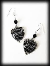alternative earrings black druzy earrings ouija planchette earrings antique silver