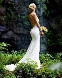mermaid wedding dresses backless lace spaghetti beach wedding