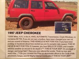 jeep cherokee ads funny xj for sale ad jeep