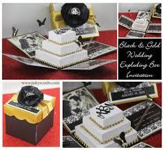 3d wedding invitations black gold damask exploding box wedding invitation