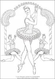 difficult coloring page of ballerina dancer for older kids