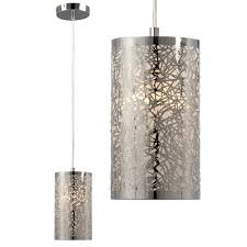 Metal Ceiling Light Shades Lighting Mini Pendant In Polished Chrome Laser Cut Metal Shade