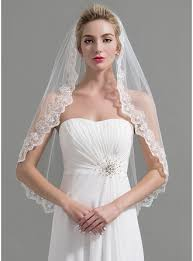 wedding veils one tier lace applique edge fingertip bridal veils with applique