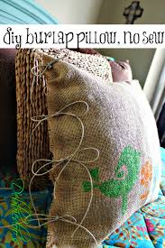 Home Decor With Burlap Diy No Sew Burlap Pillow Stenciled With Fabric Markers Debbiedoos