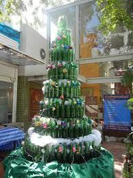 holidays display windows beer bottles and christmas tree